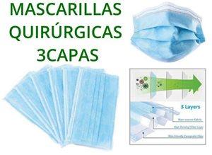 Imagen de 50 Mascarillas quirúrgicas 3 capas varios colores